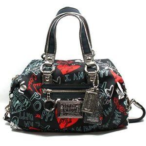 COACH Rare Poppy Graffiti Lurex Satchel Bag
